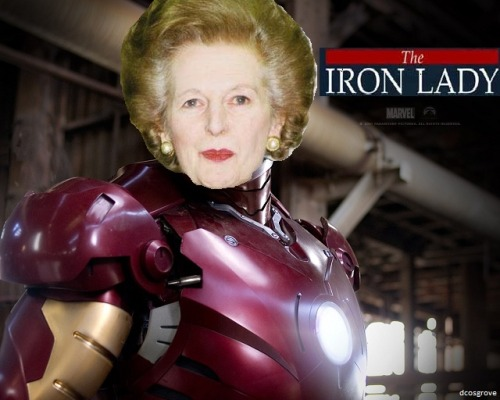 Thought it was funny when I saw a FAQ on IMDB which asked if the Iron Lady was related to Iron Man. So I made this…