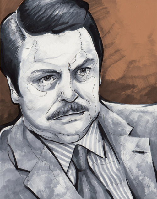 "eatsleepdraw:  You Had Me At, ""Meat Tornado"" Everyone likes Ron Swanson, right? For more drawings: Paul4AllSeasons.tumblr.com facebook / deviantart / behance"