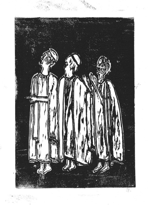 Priests in prayer linoleum cut