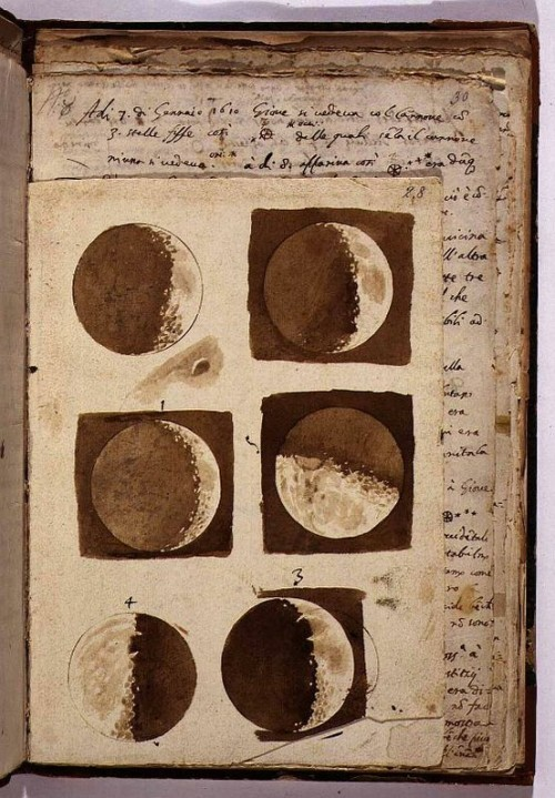 "wasbella102:  Sketches of the moon from Galileo's ""Sidereus Nuncius,"" a short treatise  on Galileo's early observations of the Moon, the stars, and the moons  of Jupiter; it was the first scientific treatise based on observations  made through a telescope."