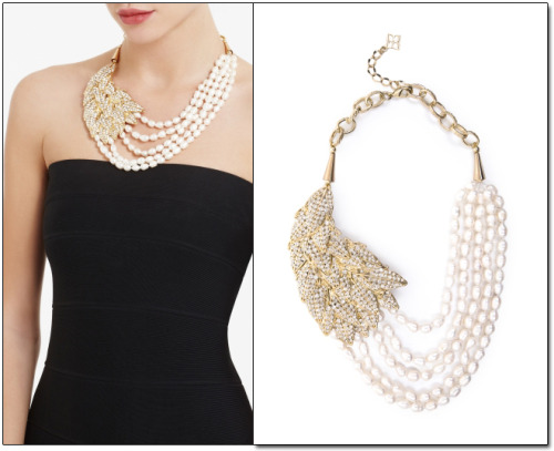 PAVE LEAF FRESHWATER PEARL NECKLACE  There is no easier way to spice up your holiday outfit with a beautiful statement necklace! I am in love with with the pave leaf freshwater pearl necklace from BCBG. It's worth the price tag!