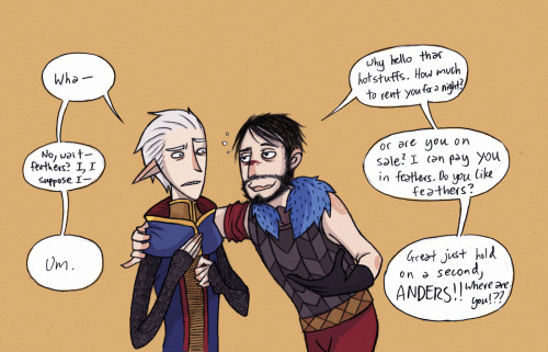 mahuika:  raaawrbin:  Anders better keep a hold onto his feathers. *** Sorry for the lack of Fenders lately I gotta fill the internets with Hawksino because it is srsly lacking. Unless some of you would like to help me. Join the army, cough.Also even as I am writing this I am feeling like crap I've had a cold fever since morning and I feel like I can't breathe is my body telling me to stop dishing out derpy Dragon Age comics. Yes, I think that's what it's trying to say.  STOP MAKING ME LOVE HAWKESINO. THIS IS RIDICULOUS   YOU CAN'T STOP ME WHATCHU GON' DO