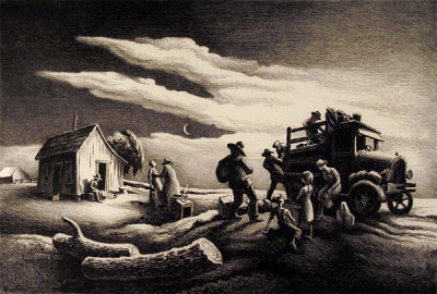 "Thomas Hart Benton ""Departure of the Joads"" 13 x 18.5 in., lithograph c. 1930's"