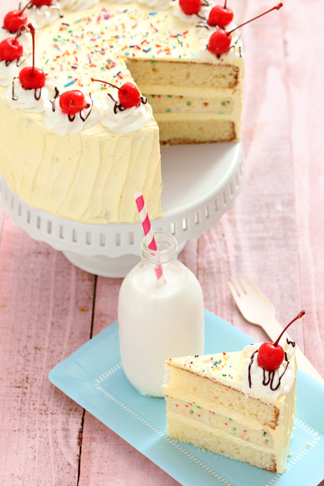 oxycoccus:  gastrogirl:  banana split surprise cake.  this blog will make me kill someone I WANT CAKE NOBODY GIVES ME CAKE  CAKEEEEEEE