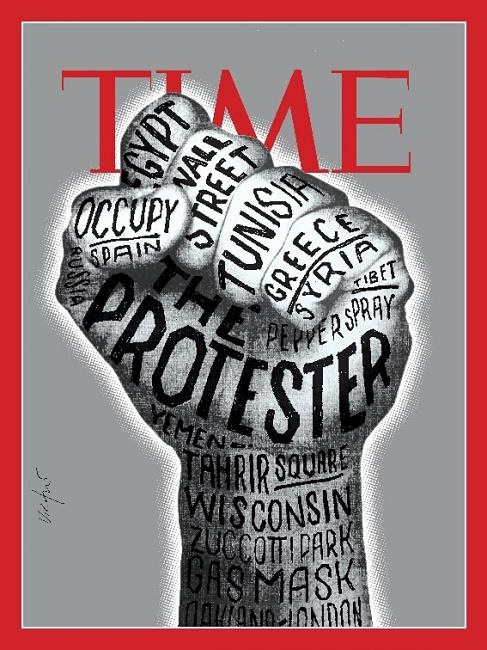 "Bag's Take-Away: The ""Person of the Year"" cover TIME rejected.  I love the illustration, but it's so ""1968"" too U.S.-centric and mobile phone-driven revolutions are more about faces and pictures.  …Although the LAT art critic thinks Shepard Fairey, who TIME ended up going with, has gone out of date, too.  (illustration: James Victore) ————— Topping LIFE.com's 2011 list of Best Photo Blogs, follow us at: BagNewsNotes; BAG Twitter; BAG Facebook; Bag by Email."