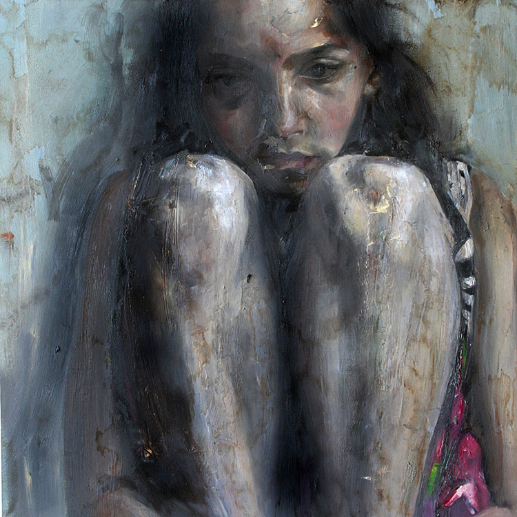 ART | Rossina Bossio, Rodillas, Oil on wood.