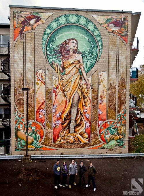 "thedailywhat:  Street Art of the Day: It took 16 long days and over 500 cans of spray paint, but the Montreal-based artist-run collective A'Shop finally completed its massive Art Nouveau-inspired mural of ""a modern-day Our Lady of Grace."" ""Our city has way too much gray,"" said Fluke, one of the five artists who worked on this project. ""So I hope this [mural] kickstarts a mural campaign."" Watch the mural go from soup to nuts below:  [ashop / mefi.]  This is amazing."