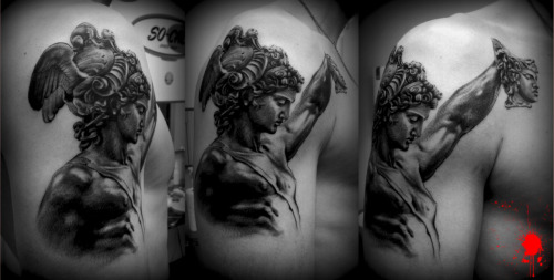 fuckyeahtattoos:  Perseus with Medusa's head. Done by Juanjo Martinez Canovas, at OldTimesTatto,  in Murcia (Spain)