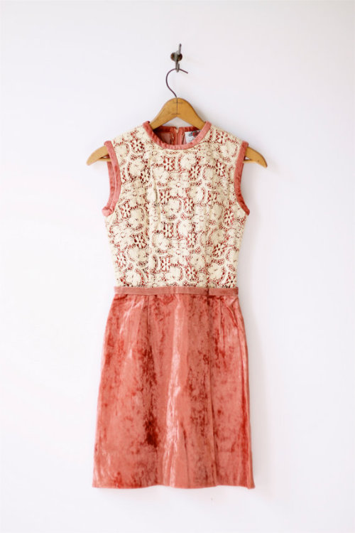 modcloth:  A vintage cream lace and velvet dress by roxandsam on Etsy.   I would rock the velvet vintage hell out of this one.