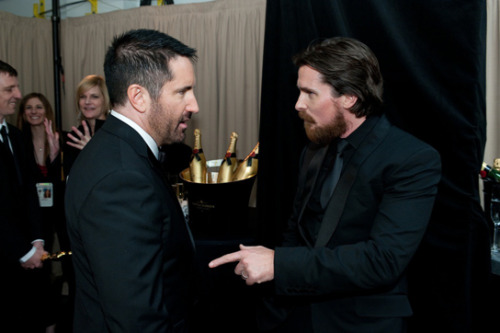 awesomepeoplehangingouttogether:  Trent Reznor and Christian Bale