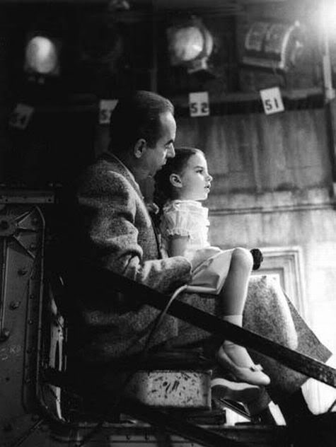 Vincente Minnelli & Liza Minnelli; Vincente giving Liza a ride on  the MGM camera crane during filming of 'Lovely To Look At' (1952)