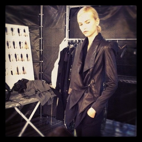 BEHIND THE CURTAIN. PRE-FALL 12 SHOOT.  The black leather jacket of the season. (Taken with instagram)