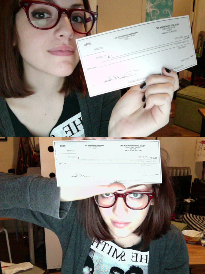 I GOT MY CHECK:):) it's a grant from my school's film dept, for my thesis film. it feels good to know someone is willing to pay for me to make something…!