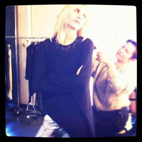 BEHIND THE CURTAIN. PRE-FALL 12 SHOOT.  Anabela Belikova getting Helmut-fied at the shoot. (Taken with instagram)
