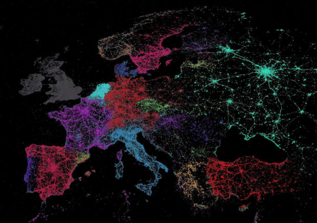"geocrusader80:  Language Map of Europe for Twitter users…According to this map, it looks as the users of Twitter tend to be located around major transportation infrastructures. The colors represent languages: gray for English, purple for French, red for German… ""I really liked these maps both for their cartography but also for  their demonstration that  linguistic and national borders can be seen  online as well. There has  also been a tendency for fine scale mapping of  Twitter data so it is  nice to get a global perspective."""