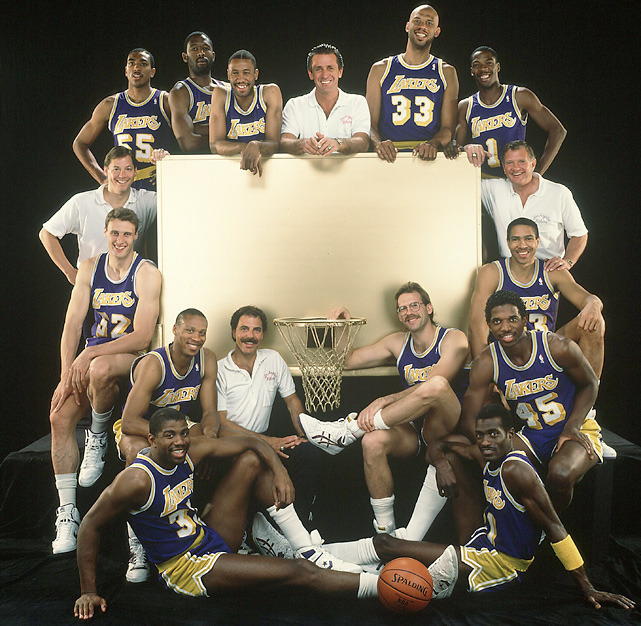 The 1987-88 Lakers pose for an SI photo shoot before the playoffs. The team would win the NBA title two months later, becoming the first back-to-back champions in 20 years. (Lane Stewart/SI) GALLERY: Iconic photos of the Lakers