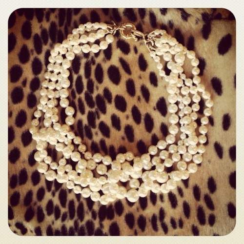 matchbookmag:  The Matchbook girl…pairs leopard with pearls. (Taken with instagram)