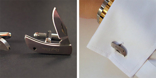 "thedailywhat:  Killer Cufflink of the Day: Cool Material combines the ""two accessories every guy needs"" to form Knife Cufflinks. $55. Presently out of stock. [likecool.]"