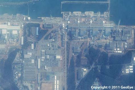 "Satellite imagery of the Fukushima  Daiichi nuclear power plant #remotesensing #geoeye  ""This half-meter resolution satellite image was taken of the Fukushima  Daiichi nuclear power plant three days after a 9.0-magnitude earthquake  struck the Oshika Peninsula on March 11, 2011.The image was taken by the  GeoEye-1 satellite from 423 miles in space as it moved from north to  south over Japan at a speed of four miles per second."" Image Source: Geoeye2011"
