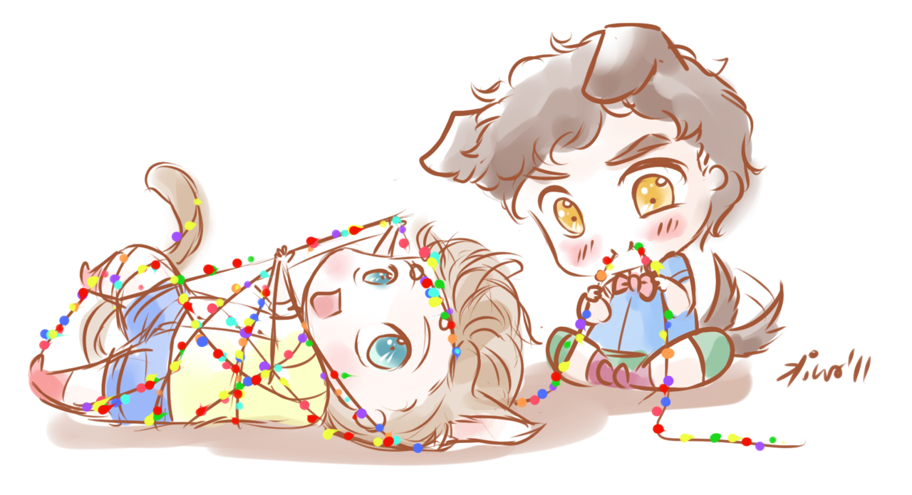 kiwakostalova:  katherine1753 -puppy!Blaine and kitty!Kurt playing with Christmas lights :D   it makes me happy that kurt is always the kitty. also, do you think this is why chris mad the kitty and puppy drawings on set?????
