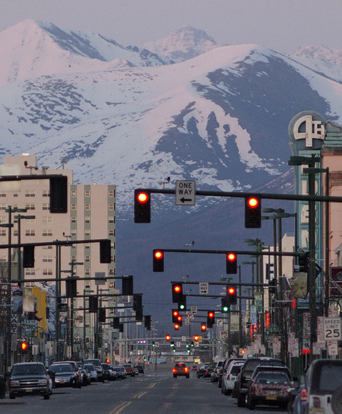 4th Ave, Anchorage. Alaska! Absolutely aching to be here.