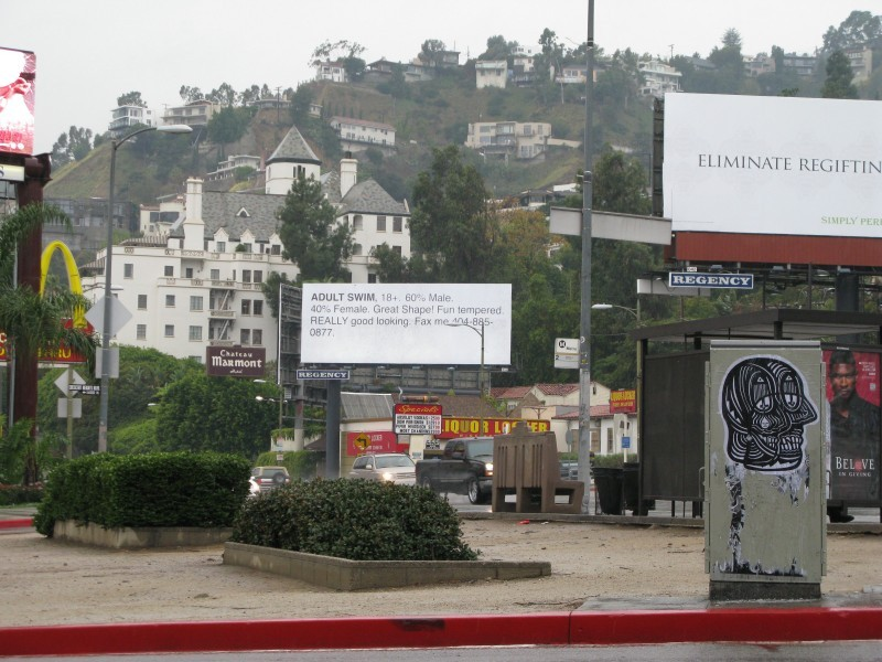 Photo of the Day. Adult Swim bought one of the most expensive billboards in LA, which means in the world, and spent it on a personal ad joke. They have the best brand marketers I have ever seen. Gotta give them dap.