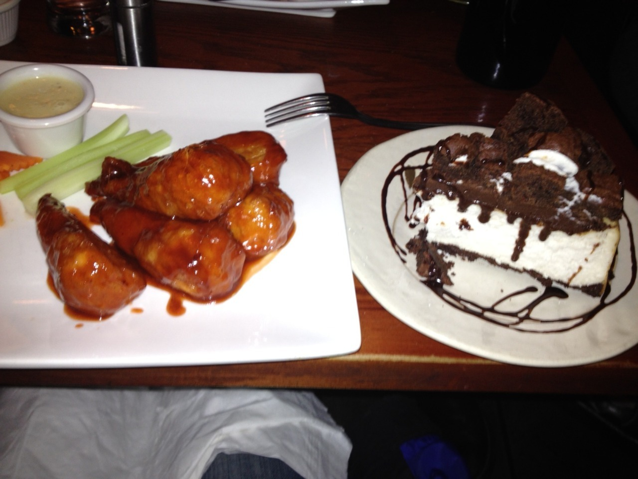 Vegan Brownie Bottom Cheesecake & buffalo wings. Sometimes a girl just wants her comfort food.