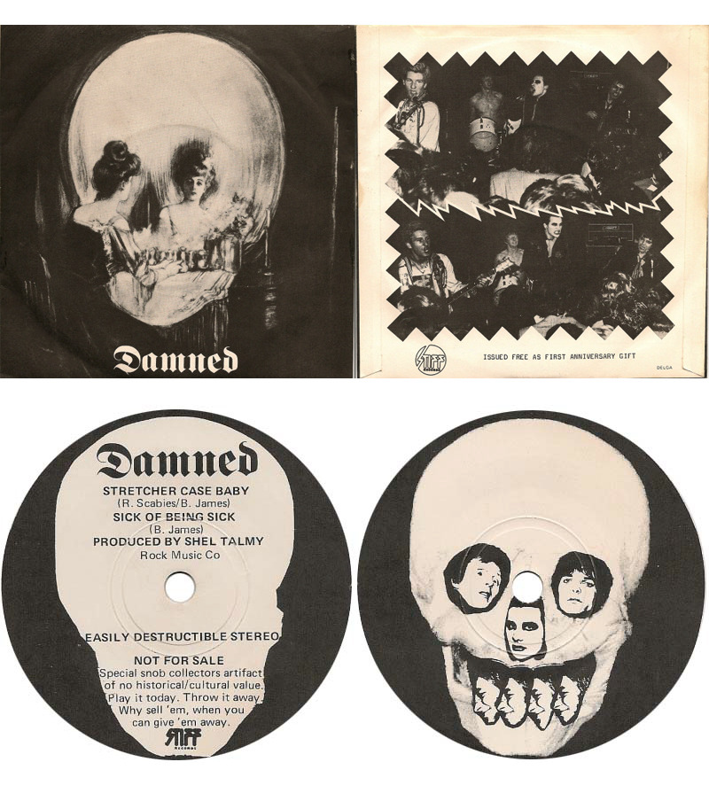 "zombiesenelghetto:  The Damned: Stretcher Case Baby /Sick Of Being Sick 7"" flexi, given away at the groups first anniversary gigs at The Marquee, London 1977."