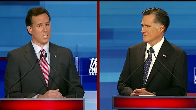 Santorum criticized Romney on his same-sex marriage record. This is the part of the debate where the candidates are trying to out-conservative each other.