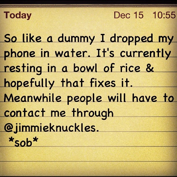#brokenphone #droppedmyphoneinwater #imafuckingidiot (Taken with Instagram at The folk life freedom fortress)