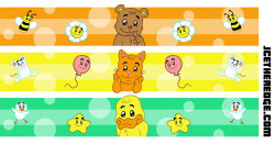 Designs for baby diaper waistbands.