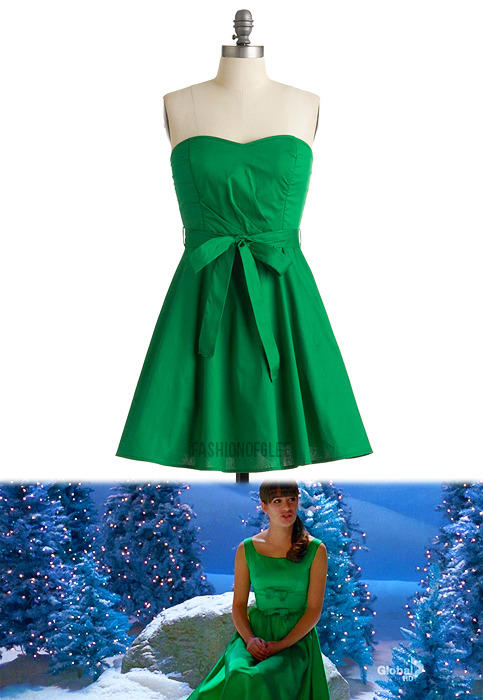 "fashionofglee:  Steal the look of Rachel's vintage ""River"" dress with this zesty kelly green number. (similar) Modcloth Zest is More Dress - $49.99"