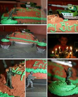 "Designed for an ""Army Man"" themed 8 year old's birthday party.Contact ChaoticPerspectives@yahoo.com for pricing information.Chocolate buttercream frosted devil's food cake adorned with tank and Army men. Child's excitement also included."