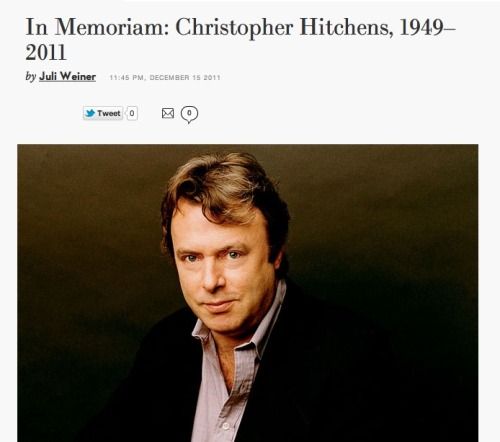 Goodbye, Christopher Hitchens. A great loss of a great mind.