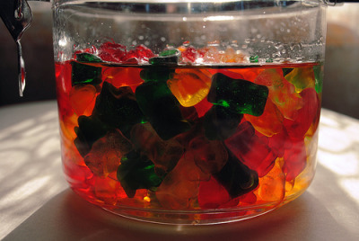 soyacide:  tobeinfinitee:  partyroyals:  Drunken Gummy Bears What you need to make them: Alcohol of your choice Bowl (with a lid is optional) Fridge Gummy Bears How to make them: Put your gummy bears (or other gummy candy) in a bowl of your choice. Pour the liquor you are using into the bowl and cover about a 3/4 inch over the top of the gummy bears. You can put a lid on them or leave them uncovered if you would like. These MUST be left in the fridge, if not they will fall apart and turn into a huge glob of goo. The minimum to soak these is about 5 days, but the longer the better for them! Make sure to stir them 1-2 times daily to get them evened out. Fun facts: You can use ANY kind of alcohol to make these. Use flavored alcohol to make them even yummier! 7-10 equal a shot of the liquor you are using. Yes, they will get you drunk - they are soaked in alcohol! ;) They will stay good in the fridge for a very long time! Serve them with a toothpick for cleaner eating. What they look like when they are done: (left is unsoaked - right is soaked in vodka)  not gonna lie i really wanna make these.   Doing this.  I'm doing these. Nyahahaha. Good luck my friends!
