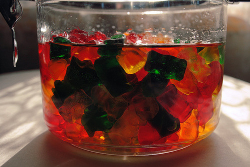 partyrehab:  Drunken Gummy Bears What you need to make them: Alcohol of your choice Bowl (with a lid is optional) Fridge Gummy Bears How to make them: Put your gummy bears (or other gummy candy) in a bowl of your choice. Pour the liquor you are using into the bowl and cover about a 3/4 inch over the top of the gummy bears. You can put a lid on them or leave them uncovered if you would like. These MUST be left in the fridge, if not they will fall apart and turn into a huge glob of goo. The minimum to soak these is about 5 days, but the longer the better for them! Make sure to stir them 1-2 times daily to get them evened out. Fun facts: You can use ANY kind of alcohol to make these. Use flavored alcohol to make them even yummier! 7-10 equal a shot of the liquor you are using. Yes, they will get you drunk - they are soaked in alcohol! ;) They will stay good in the fridge for a very long time! Serve them with a toothpick for cleaner eating. What they look like when they are done: (left is unsoaked - right is soaked in vodka)