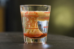 the-mad-hattress:  partyroyals:  Brain Hemorrhage. What you will need: 1 tsp. Baileys 1 oz. Peach Schnapps 2 drops Grenadine Instructions: Pour the peach schnapps into a shot glass. Slowly add the Baileys down the middle and then top with the drops of Grenadine. Drink & enjoy!  this looks so cool.  This actually looks like vodka with white shrooms.