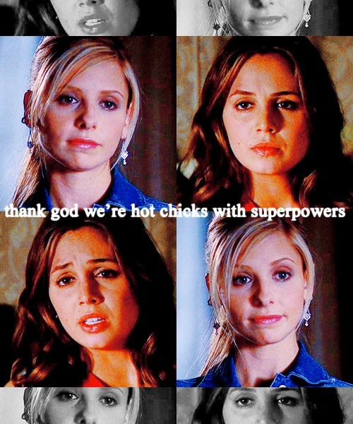 "sinfultragedy:  Themed Party // CHALLENGE 42: Superpowers - Buffy Summers and Faith Lehane   ""Takes the edge off"""
