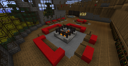 So I've been working on my library some. Finished the first floor in its entirety. YAY! I did the math and… 1,872 bookcases on the first floor. JUST the first floor. There are 26 rows. Each row is divided into 3 columns. Each section has a 4 x 6 section of book cases. 4 x 6 is 24, 24 x 3 is 72, 72 x 26 is 1,872. And the second floor has only about 48 less book cases. And the third floor… I don't even know what that's going to be yet x.x So here, enjoy this photo of the lounge, reading area, thingy on the first floor. Server: creative.awkwardgamers.co.uk Texture Pack: Steelfeather's Enchanted Pack