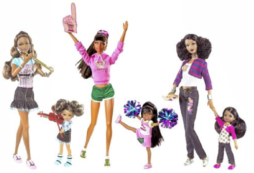 "pompadoursandpincurls:  delatierraa:  New Black Barbies Get it Half Right Mattel just unveiled its newest collection of Barbies: the So in Style (S.I.S.) collection. Created by an African-American designer, the dolls are meant to be more culturally relevant to young multi-ethnic girls in their fashions, facial features and hairstyles with inspiring hobbies. ""I want them to be examples to real girls,"" says Mattel designer Stacey McBride-Irby. The dolls come in pairs with a big and little sister to encourage mentoring relationships. While we applaud the cute dolls – Grace and Courtney, Kara and Kiana and Trichelle and Janessa – most still look like a darker shade of Barbie. Only one of the three adult dolls, Kara, has natural hair, while the other two sport long, stick-straight 'dos. And out of the three little sisters, only one has a textured style – afro puffs – while the rest have straighter styles. Barbie has come along way since she first was conceived 50 years ago by Ruth Handler, who founded Mattel in 1944 with husband, Elliot and Harold ""Matt"" Matson. Handler was bucking a post-World War II trend of paper dolls and baby dolls by creating a fashion doll, whcih she named after her daughter, Barbara. The early Barbie's measurements were unattainable. In 1989, a Barbie Liberation Organization was formed by a group of activists who objected to Barbie's unrealistic figure and her superficial consumerism. And Barbie definitely lacked ethnicity, even when they were meant to be black or Hispanic. The company simply took the Barbie mold and hair and gave the doll darker skin. The new dolls are a definite improvement over Mattel's previous attempts. But they still fall slightly short, falling back on what is more socially acceptable and reinforcing old standards of beauty that have changed dramatically as our society becomes more multicultural. The dolls have gotten mixed reviews from the African-American community. ""The S.I.S. dolls are just another example of how America loves to see American-Americans: as white as possible,"" says About-face.com. ""Of course many black women do have hair like this, but most don't grow it that way naturally. There are six different dolls – why not six different kinds of hair? To me, this lack of representation just reaffirms the notion that 'nappy' or 'kinky' hair is bad, while promoting long, sleek hair as the most (or only) beautiful option."" Blogger Raven Hill writes on Jezebel.com: ""Hair can be a complicated subject for black women, and it would be sad for any little girl to feel as if her texture wasn't desirable or represented.""  In the meantime, read how womyn of color are combatting the issue by taking matters into their own hands and giving these straight haired barbies natural hair makeovers! I think I'm gonna make one!   ""The S.I.S. dolls are just another example of how America loves to see American-Americans: as white as possible."""