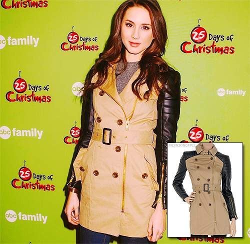 The ever so beautiful Troian Bellisario attended ABC Family's, 25 days of Christmas, Ice skating extravaganza. She's looking ever so stylish!  Walter Baker Milly - W118 Tench Coat - S.S.O.