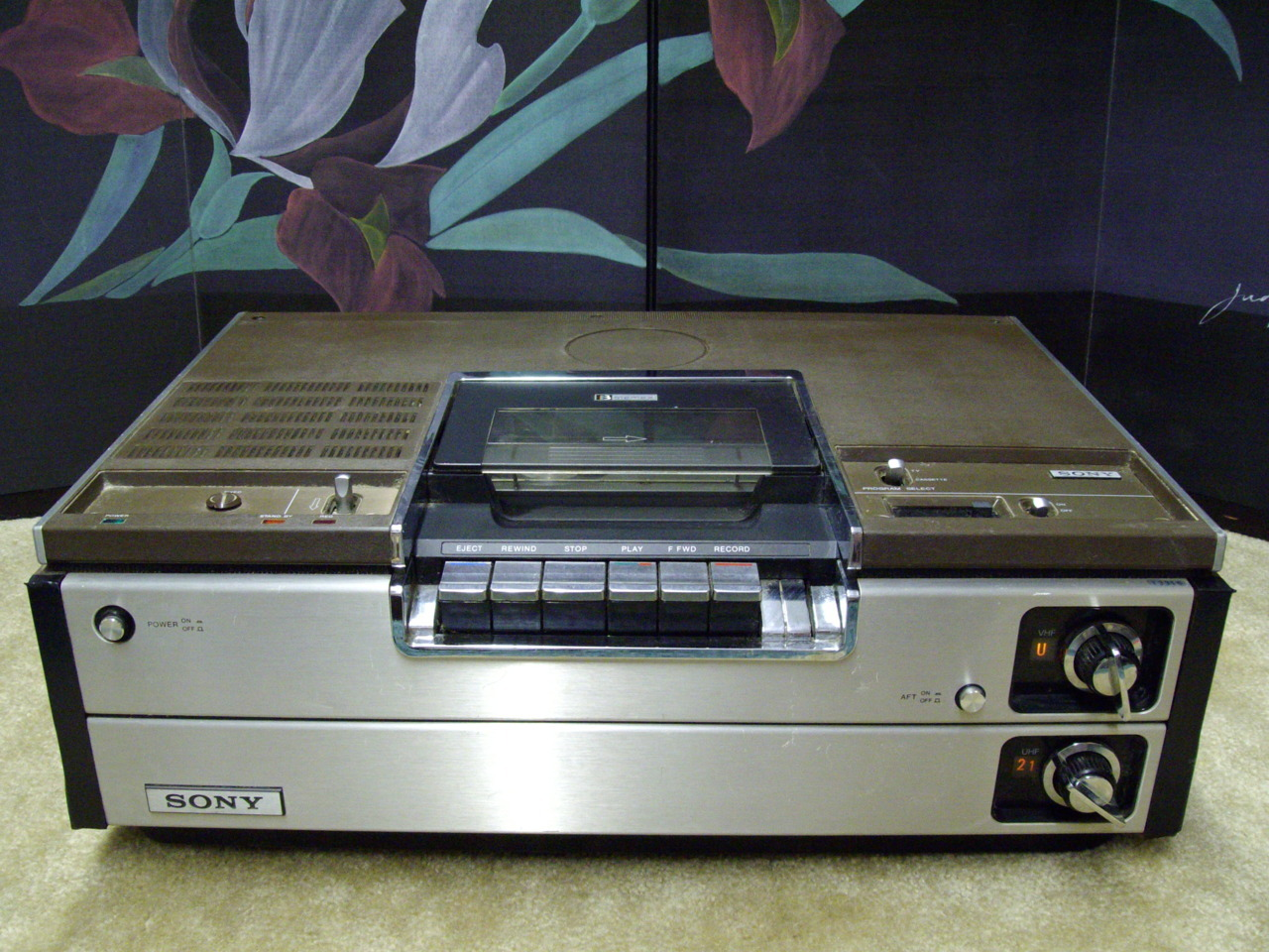 SONY BetaMax - Model SL 7200 1977 As a kid we had these before VHS they had remotes wired to the unit and were better quality than VHS but the record time was quite low. I still have my red BetaMax tape which I used to tape Saturday morning cartoons.