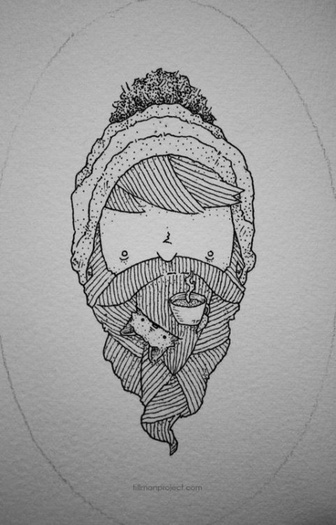 """beard-kitten: espresso"" (pen progress) i found an old oval frame at the thrift store, so i thought i'd make a beard-kitten painting and put it up for sale. yeah?"