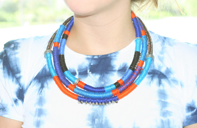 Tribal Necklace | I Spy DIY Tribal anything is on my mind at the moment- I love the bright colours, the geometric shapes, and the silver details. I love this necklace, though of course it would take a while to make. But if you bought something similar to this in the stores I'm sure it would set you back a lot more. If you don't love the colour combo, you can of course change it around too. I'm thinking of making this for Christmas day to go with my new dress, I'm sure I'll get compliments! Haha!