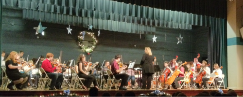 That's my boy on bass! Blue Ridge Middle's Christmas 2011 Strings concert.  12/15/11