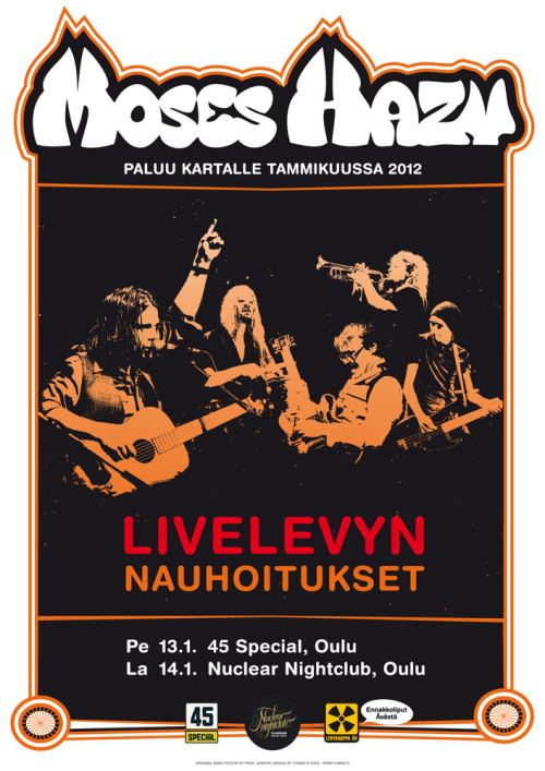 Poster design for Moses Hazy by Tumma Studio. Original band photos by Pnuk
