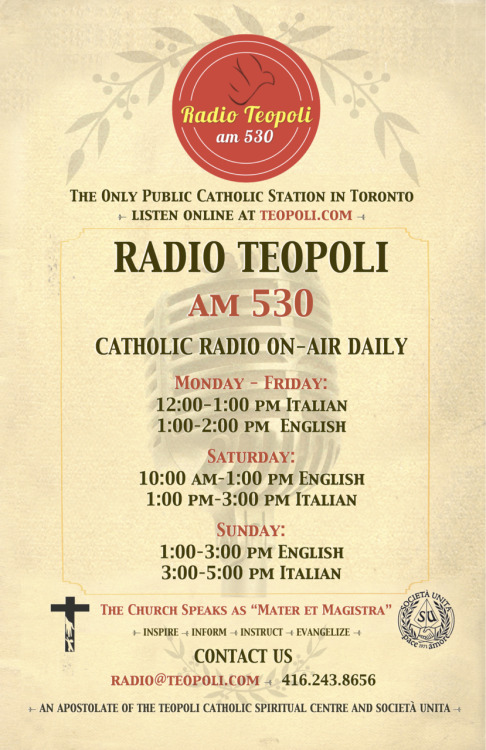 Join us for our Italian Speaking program at 1-3PM (Eastern Time) every SATURDAY. Click on the link to LISTEN ONLINE  1PM Don. Andrea Biaggi - Lectio Divina (Italian)2PM Fr. Amedeo Nardone - Chiesa 2000 (Italian)