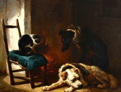 Henriette Ronner-Knip Two Dogs and a Cat Before the Fire 19th century