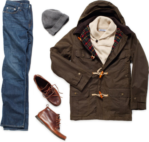 Garb: Toggled Together Stay warm, look good, and start something in this go-anywhere ensemble. Sofia Knit Hat ($65). Sebago Beacon Boot ($130). Bononbos Gloverall Wax Toggle Coat ($615). Bonobos Blue Ridge Jeans ($125). Bonobos Shawl Collar Sweater ($118). via UNCRATE
