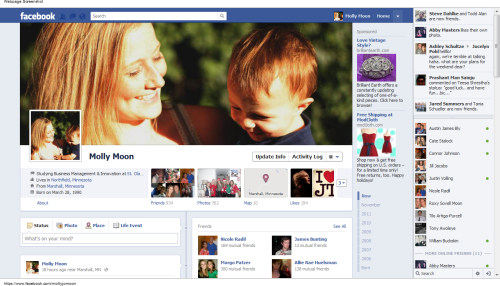 It's here, it's here, IT'S HERE!!! Facebook timeline, after much anticipation was launched globally yesterday.  However, the launch is only for personal pages aiming to launch a more personal Facebook promoting users to add life events.  In addition to status updates and photo/video posts Timeline offers the option to backlog everything from a new job to a broken bone in third grade.At this point Facebook has NOT launched brand pages.  Many marketers are anxious to harness the visually dynamic Timeline to present branded pages, but Facebook has not yet said when this will happen.  Luckily, we have Mashable to ponder what these profiles might look like.  Take a look at mock-up timelines for Coke, Burberry, Red Bull and McDonalds.Not far from the questions I posed in my previous Timeline post, Fast Company presents a few parodied mock-up profiles for brands that may not want to have a Timeline recording and recounting their brand's every move.  Think BP, Netflix, HP…I had an intriguing conversation with a classmate last night concerning Timeline. Taking a rather existential stance on Timeline he was upset that users will be able to edit their timelines in ways that highlight what they want to share and exclude the things they don't with either privacy features or by entirely deleting such posts.  I considered this thought and realized this is no different than how we recount memories ourselves.  But at the same time does provide a nuanced version of memory that could prove to be very powerful for users.First, personal memories are only made of instance we take the time to reflect on.  What is great about Facebook Timeline is that some of the mundane, daily thoughts and interactions we don't process into  memories ourselves will be saved in our Timeline.  Second, deleting memories we don't want to share with our Facebook network is no different than how we keep sullied memories to ourselves today.  I think Facebook is onto something here for the personal pages.  I am excited to see what the brand pages will look like.  I predict that in the same way today's brand pages are fairly similar to personal pages but with added functionality through media content, games, or promotional content on extra tabs or applications - I think this same concept will be somehow integrated into Timeline.  Only time will tell!  But for now I salute Facebook for launching what is a seemingly finished product versus bits and pieces in the ways previous profile updates have been launched.